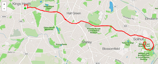 14 miles - to Brueton Park and back